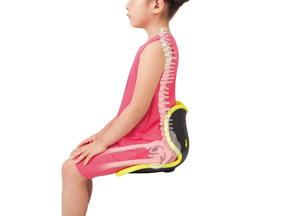 骨盤から背中のラインに合わせたカーブと左右の腰のサポートが、倒れがちな骨盤を支えます。