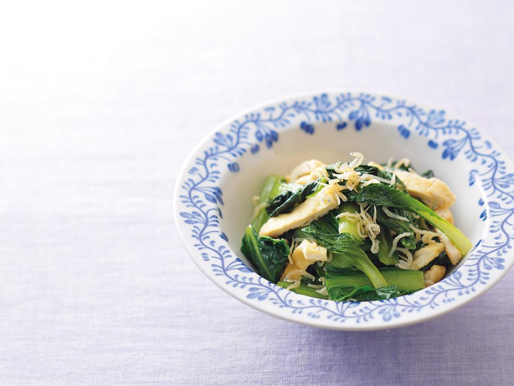 ちりめんじゃこと小松菜の炒め物